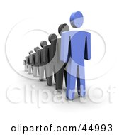 Royalty Free RF Clipart Illustration Of A 3d Blue Guy Standing In Front Of A Line by Jiri Moucka
