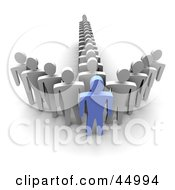 Royalty Free RF Clipart Illustration Of Lines Of White Guys Standing Behind A Blue Guy And Forming An Arrow by Jiri Moucka