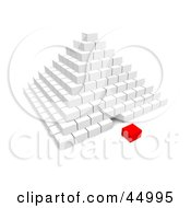 Royalty Free RF Clipart Illustration Of A Red 3d Cube Piece Separated From A White Pyramid by Jiri Moucka