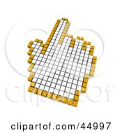 Royalty Free RF Clipart Illustration Of A White And Orange Pixelated Pointing Hand Computer Mouse Cursor by Jiri Moucka