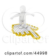 Royalty Free RF Clipart Illustration Of A 3d Blanco Man Character Surfing The Web On A Hand Shaped Cursor