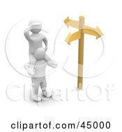 Royalty Free RF Clipart Illustration Of A 3d Blanco Man Character Up On The Shoulders Of A Friend At A Crossroads
