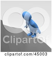 Royalty Free RF Clipart Illustration Of A Suicidal 3d Azul Man Character Standing At The Edge Of A Cliff