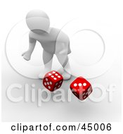 Royalty Free RF Clipart Illustration Of A Gambling 3d Blanco Man Character Rolling Two Red Dice by Jiri Moucka