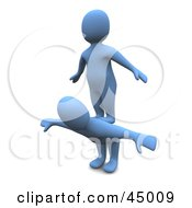 Royalty Free RF Clipart Illustration Of A Selfish 3d Azul Man Character Standing On The Back Of Another by Jiri Moucka