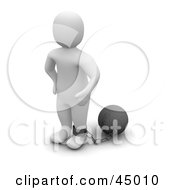 Royalty Free RF Clipart Illustration Of A 3d Blanco Man Character Tied To A Ball And Chain