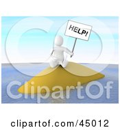 3d Blanco Man Castaway Character Holding Up A Help Sign On A Deserted Island