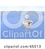 Helpess 3d Blanco Man Character Floating In A Lifebuoy At Sea