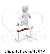 Royalty Free RF Clipart Illustration Of A 3d Blanco Man Character Leaping Over A Hurdle