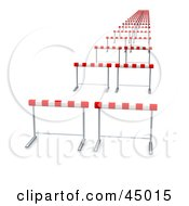 Royalty Free RF Clipart Illustration Of Never Ending Line Of Hurdles On A Track