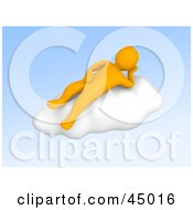Relaxed 3d Anaranjado Man Character Reclined On A Cloud In The Blue Sky