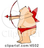 Overweight Man Wearing Valentine Cupid Costume While Aiming A Bow An Arrow Clipart