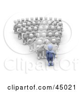 Royalty Free RF Clipart Illustration Of A 3d Azul Man Character Leading Rows Of Blanco Followers by Jiri Moucka