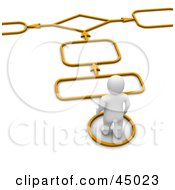 3d Blanco Man Character Following Arrows And Spaces On An Orange Path