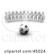 Team Of 3d Blanco Man Characters Facing A Soccer Ball