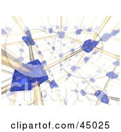 Royalty Free RF Clipart Illustration Of A Complex Background Of Blue Cells Networking Between Yellow Cables by Jiri Moucka