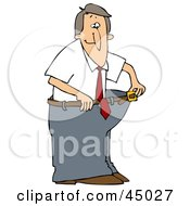 Clipart Illustration Of A Skinny Man Wearing His Fat Pants Holding The Belt Away From His Waist