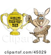 Royalty Free RF Clipart Illustration Of An Armadillo Character Holding A Golden Worlds Greatest Dad Trophy by Dennis Holmes Designs