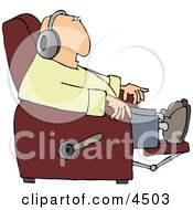 Man Sitting In A Recliner And Wearing Earphone Clipart