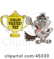 Royalty Free RF Clipart Illustration Of An Anteater Character Holding A Golden Worlds Greatest Dad Trophy