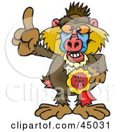 Royalty Free RF Clipart Illustration Of A Baboon Character Wearing A Best Dad Ever Ribbon