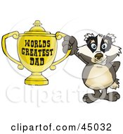 Royalty Free RF Clipart Illustration Of A Badger Character Holding A Golden Worlds Greatest Dad Trophy