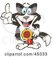 Royalty Free RF Clipart Illustration Of A Border Collie Character Wearing A Best Dad Ever Ribbon by Dennis Holmes Designs