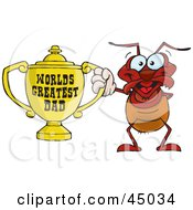 Royalty Free RF Clipart Illustration Of A Red Ant Character Holding A Golden Worlds Greatest Dad Trophy