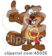 Royalty Free RF Clipart Illustration Of A Beaver Character Wearing A Best Dad Ever Ribbon by Dennis Holmes Designs