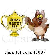 Royalty Free RF Clipart Illustration Of A Vampire Bat Character Holding A Golden Worlds Greatest Dad Trophy by Dennis Holmes Designs