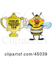 Royalty Free RF Clipart Illustration Of A Honey Bee Character Holding A Golden Worlds Greatest Dad Trophy