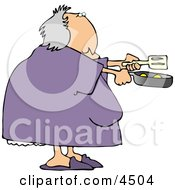 Obese Woman Cooking Breakfast Eggs In A Skillet Clipart