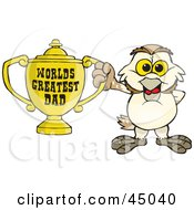 Barn Owl Character Holding A Golden Worlds Greatest Dad Trophy