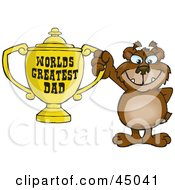 Bear Character Holding A Golden Worlds Greatest Dad Trophy
