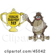 Royalty Free RF Clipart Illustration Of A Brown Ape Character Holding A Golden Worlds Greatest Dad Trophy by Dennis Holmes Designs