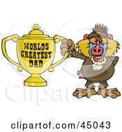 Royalty Free RF Clipart Illustration Of A Baboon Character Holding A Golden Worlds Greatest Dad Trophy