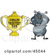 Royalty Free RF Clipart Illustration Of A Horned Beetle Character Holding A Golden Worlds Greatest Dad Trophy