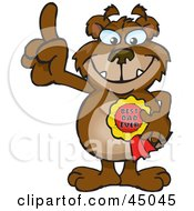 Royalty Free RF Clipart Illustration Of A Bear Character Wearing A Best Dad Ever Ribbon