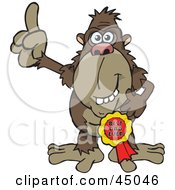 Royalty Free RF Clipart Illustration Of An Ape Character Wearing A Best Dad Ever Ribbon by Dennis Holmes Designs
