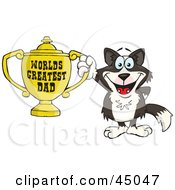Royalty Free RF Clipart Illustration Of A Border Collie Dog Character Holding A Golden Worlds Greatest Dad Trophy by Dennis Holmes Designs