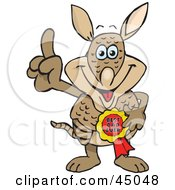 Royalty Free RF Clipart Illustration Of An Armadillo Character Wearing A Best Dad Ever Ribbon by Dennis Holmes Designs