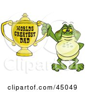 Royalty Free RF Clipart Illustration Of A Character Holding A Golden Worlds Greatest Dad Trophy