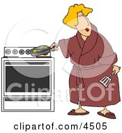 Overweight Woman Cooking Eggs In A Skillet On A Stove Clipart