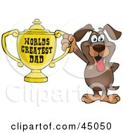Royalty Free RF Clipart Illustration Of A Dachshund Dog Character Holding A Golden Worlds Greatest Dad Trophy