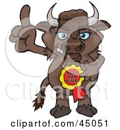 Royalty Free RF Clipart Illustration Of A Bison Character Wearing A Best Dad Ever Ribbon by Dennis Holmes Designs