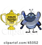 Royalty Free RF Clipart Illustration Of A Blue Butterfly Character Holding A Golden Worlds Greatest Dad Trophy