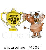Royalty Free RF Clipart Illustration Of A Bull Character Holding A Golden Worlds Greatest Dad Trophy