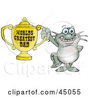 Royalty Free RF Clipart Illustration Of A Catfish Character Holding A Golden Worlds Greatest Dad Trophy