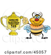 Royalty Free RF Clipart Illustration Of A Bumble Bee Character Holding A Golden Worlds Greatest Dad Trophy