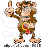 Royalty Free RF Clipart Illustration Of A Chimpanzee Character Wearing A Best Dad Ever Ribbon
